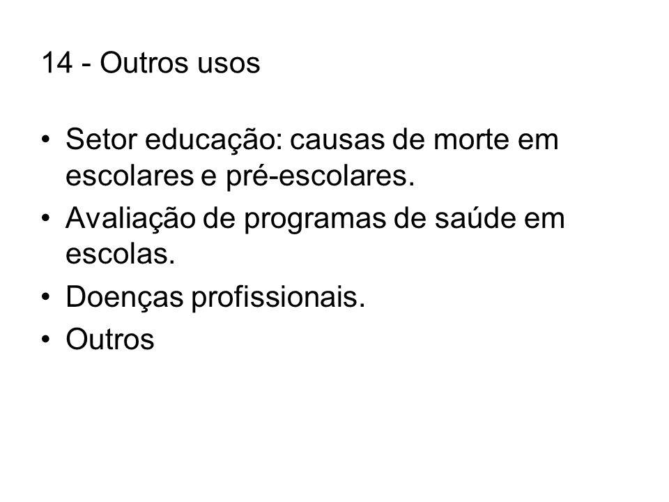 14 - Outros usos Setor educação: causas de morte em escolares e pré-escolares. Avaliação de programas de saúde em escolas.