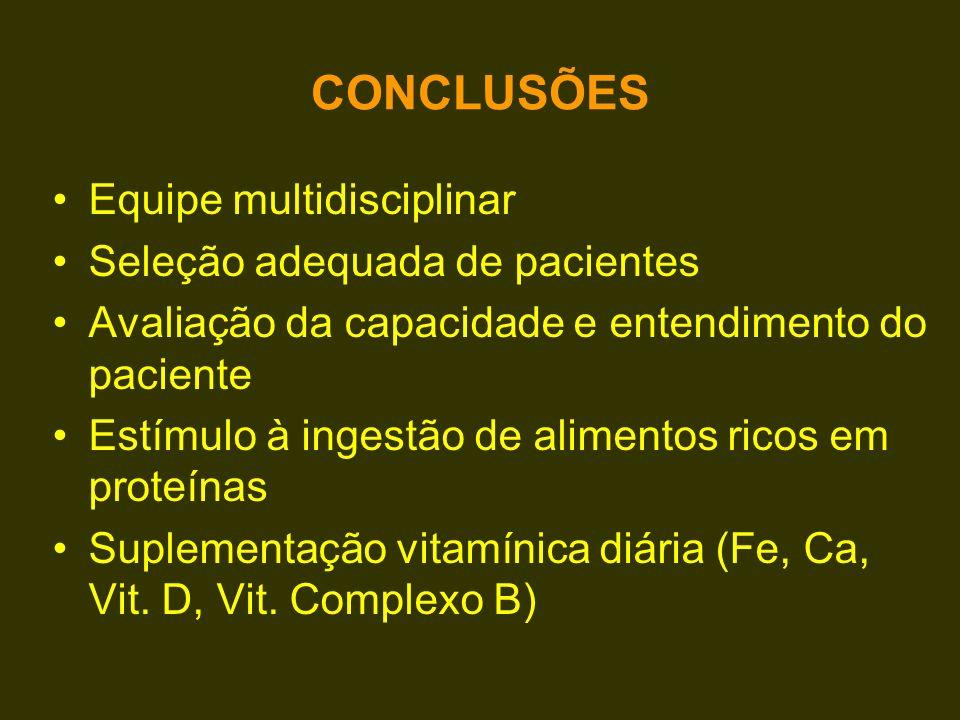 CONCLUSÕES Equipe multidisciplinar Seleção adequada de pacientes