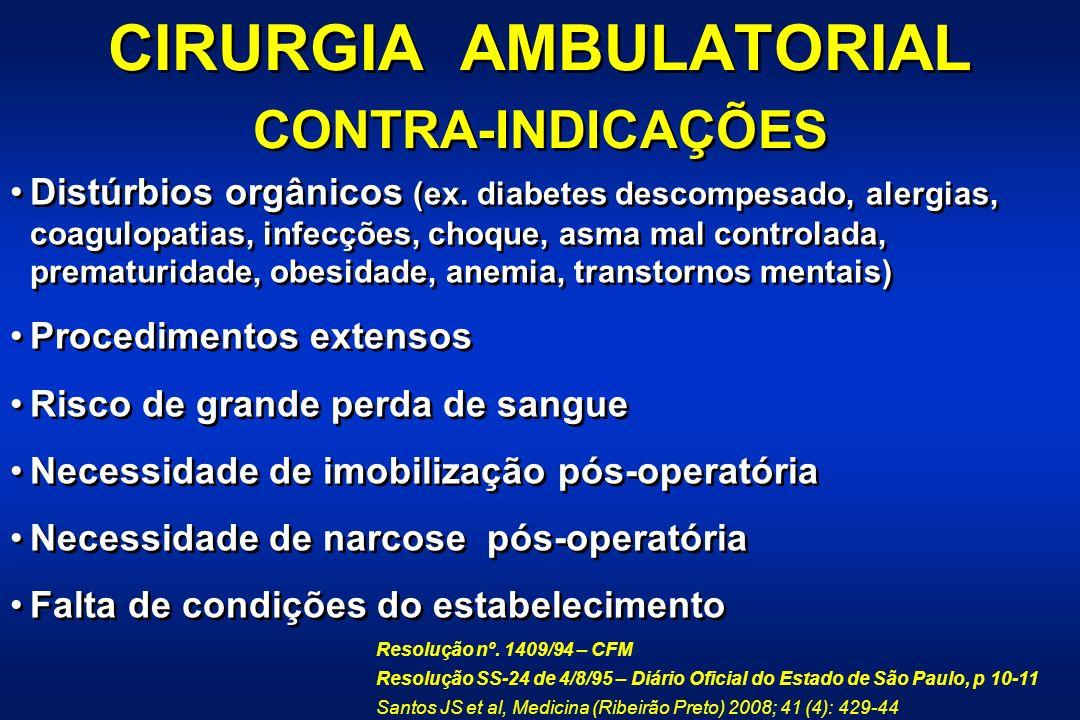 CIRURGIA AMBULATORIAL CONTRA-INDICAÇÕES