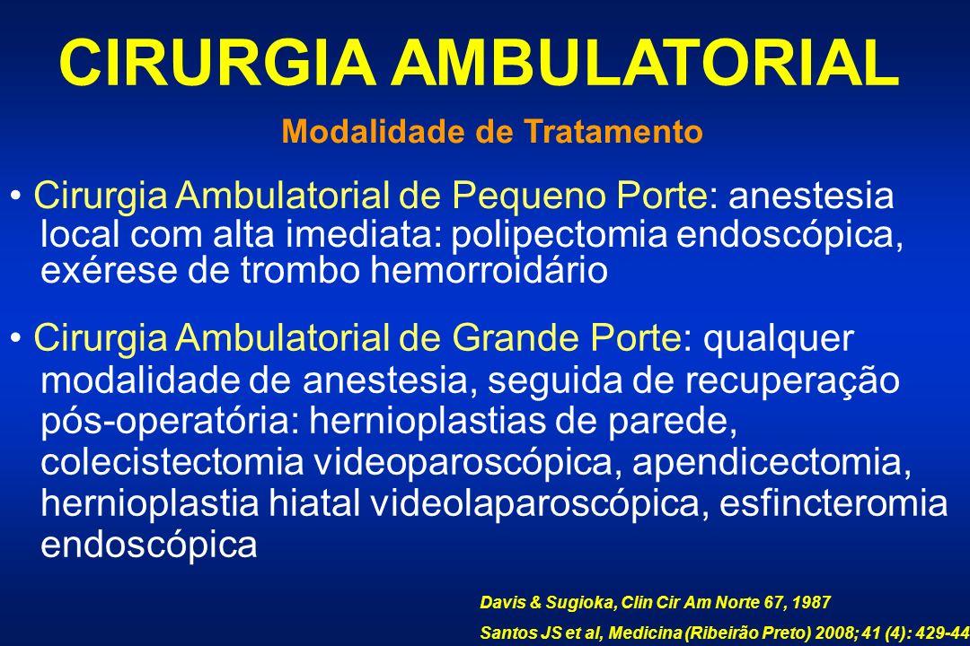 CIRURGIA AMBULATORIAL Modalidade de Tratamento
