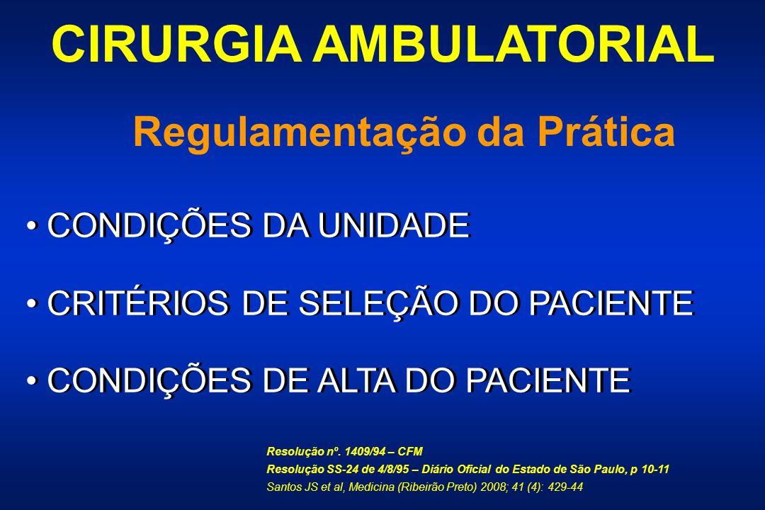 CIRURGIA AMBULATORIAL Regulamentação da Prática