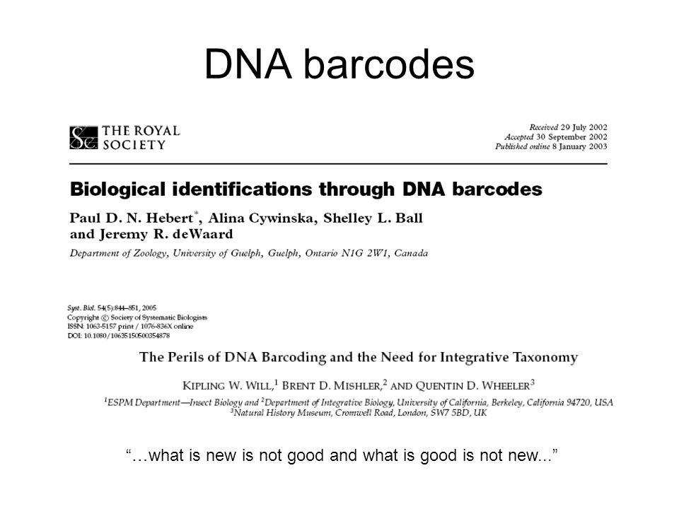 DNA barcodes …what is new is not good and what is good is not new...