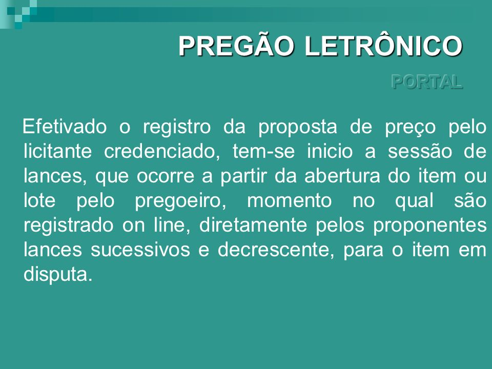 PREGÃO LETRÔNICO PORTAL