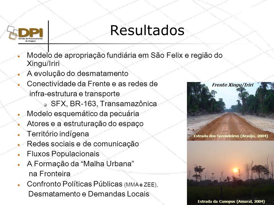 Resultados Modelo de apropriação fundiária em São Felix e região do Xingu/Iriri. A evolução do desmatamento.