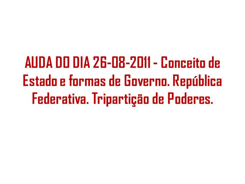 AUDA DO DIA 26-08-2011 - Conceito de Estado e formas de Governo