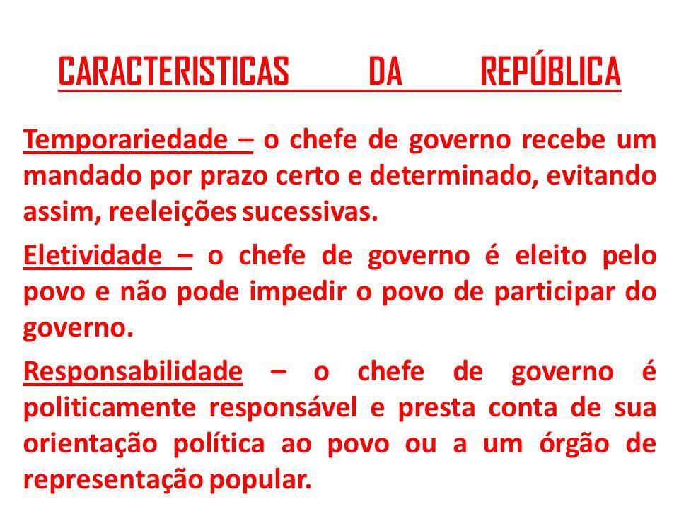 CARACTERISTICAS DA REPÚBLICA