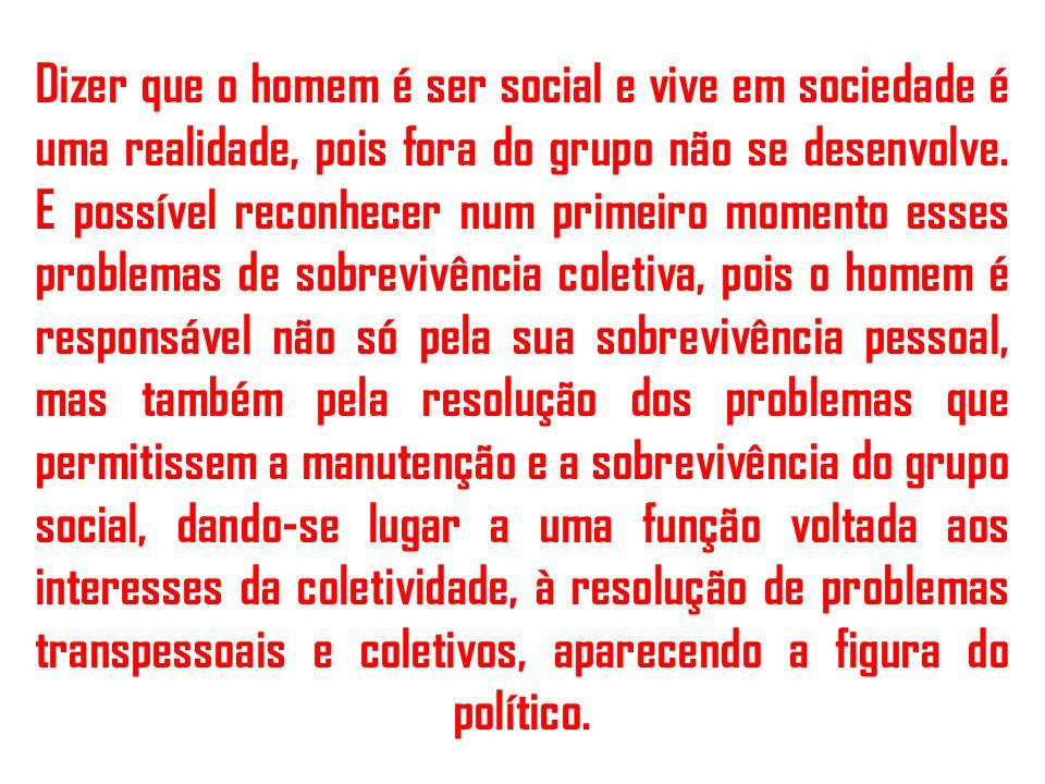 Dizer que o homem é ser social e vive em sociedade é uma realidade, pois fora do grupo não se desenvolve.