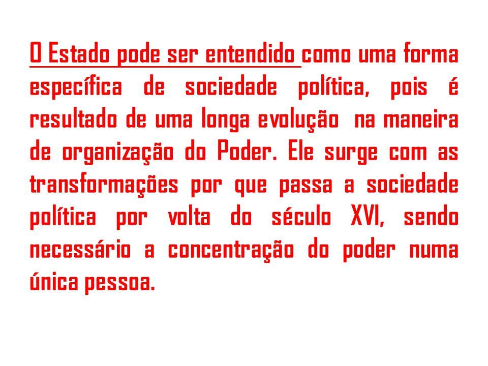 O Estado pode ser entendido como uma forma específica de sociedade política, pois é resultado de uma longa evolução na maneira de organização do Poder.