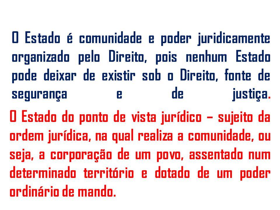 O Estado é comunidade e poder juridicamente organizado pelo Direito, pois nenhum Estado pode deixar de existir sob o Direito, fonte de segurança e de justiça.