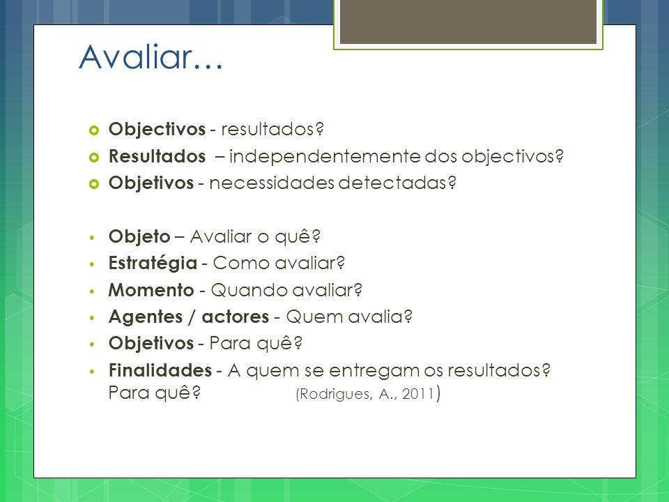 Avaliar… Objectivos - resultados
