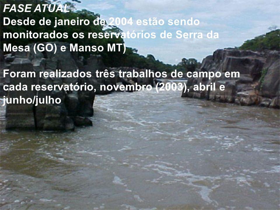 FASE ATUALDesde de janeiro de 2004 estão sendo monitorados os reservatórios de Serra da Mesa (GO) e Manso MT)