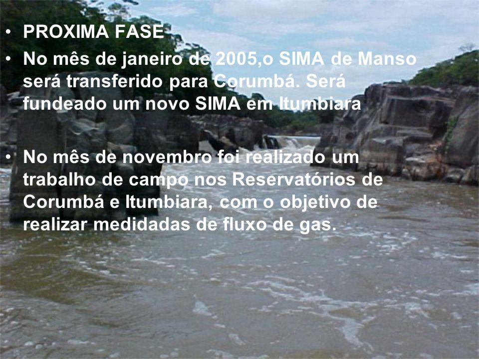 PROXIMA FASE No mês de janeiro de 2005,o SIMA de Manso será transferido para Corumbá. Será fundeado um novo SIMA em Itumbiara.