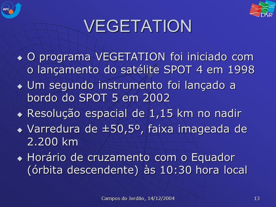 VEGETATION O programa VEGETATION foi iniciado com o lançamento do satélite SPOT 4 em 1998.