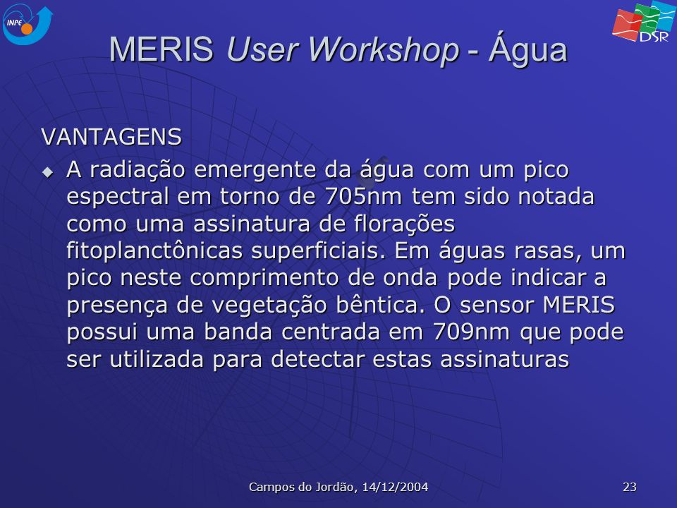 MERIS User Workshop - Água