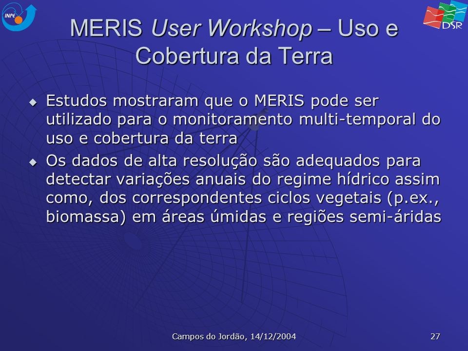 MERIS User Workshop – Uso e Cobertura da Terra