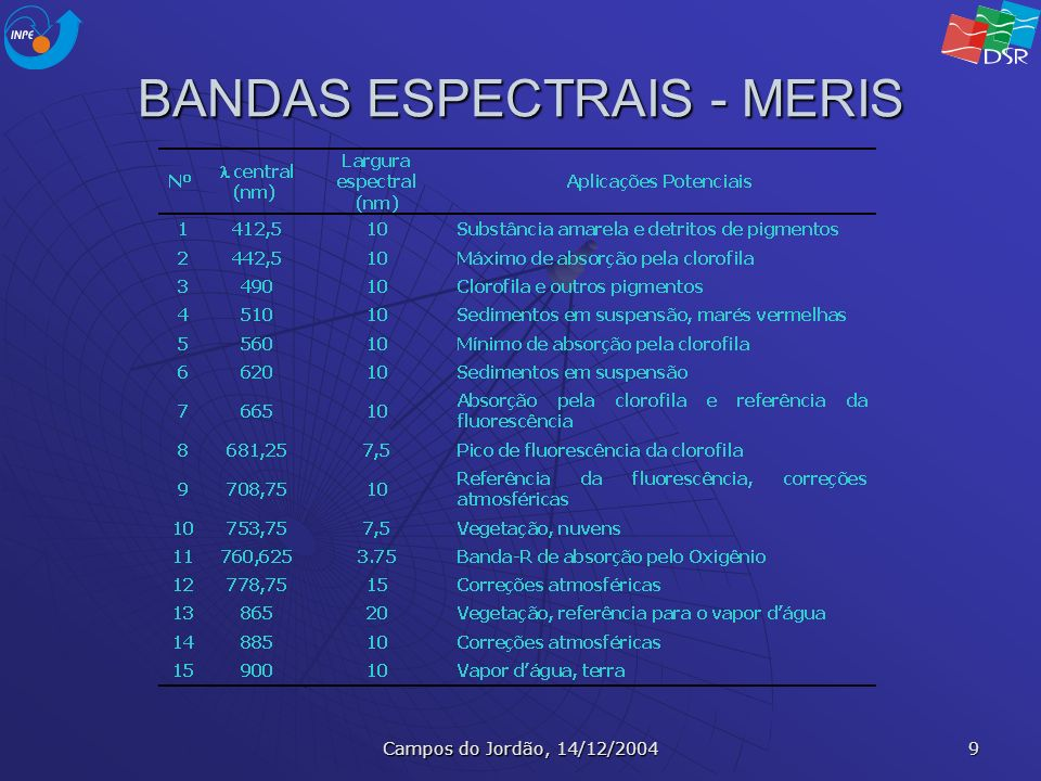 BANDAS ESPECTRAIS - MERIS