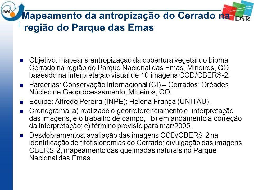 Mapeamento da antropização do Cerrado na região do Parque das Emas