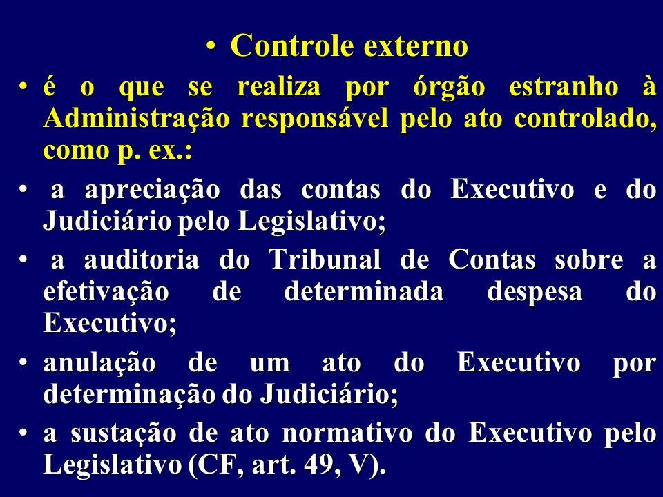 Controle externo é o que se realiza por órgão estranho à Administração responsável pelo ato controlado, como p. ex.: