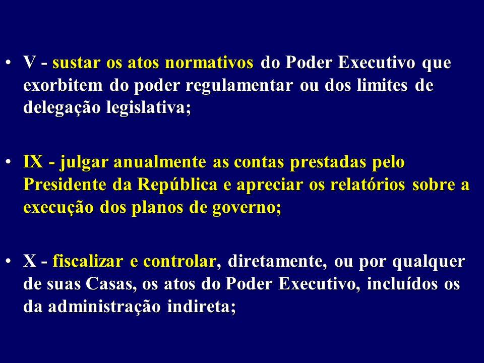 V - sustar os atos normativos do Poder Executivo que exorbitem do poder regulamentar ou dos limites de delegação legislativa;