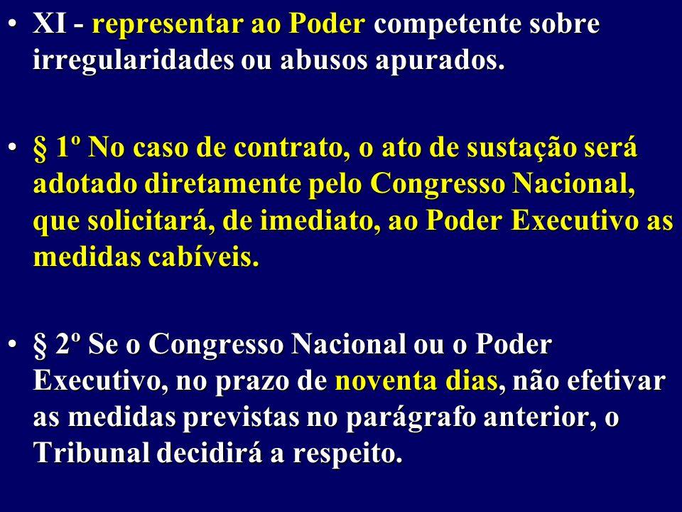 XI - representar ao Poder competente sobre irregularidades ou abusos apurados.