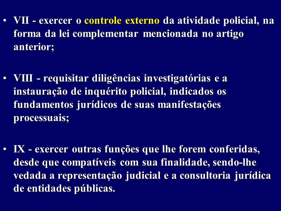 VII - exercer o controle externo da atividade policial, na forma da lei complementar mencionada no artigo anterior;