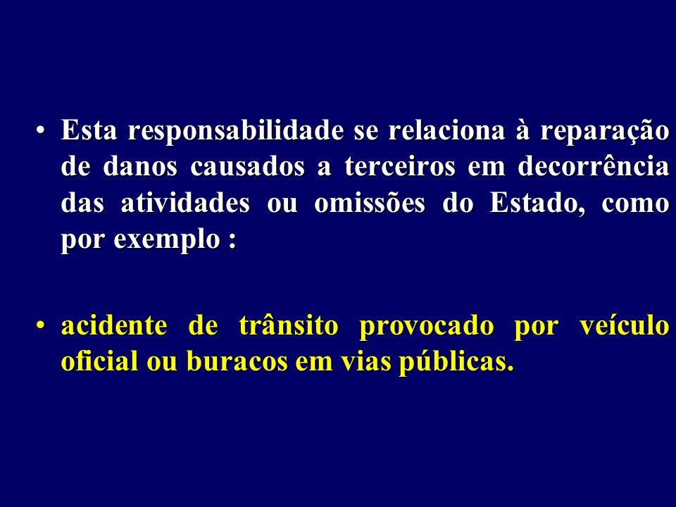 Esta responsabilidade se relaciona à reparação de danos causados a terceiros em decorrência das atividades ou omissões do Estado, como por exemplo :