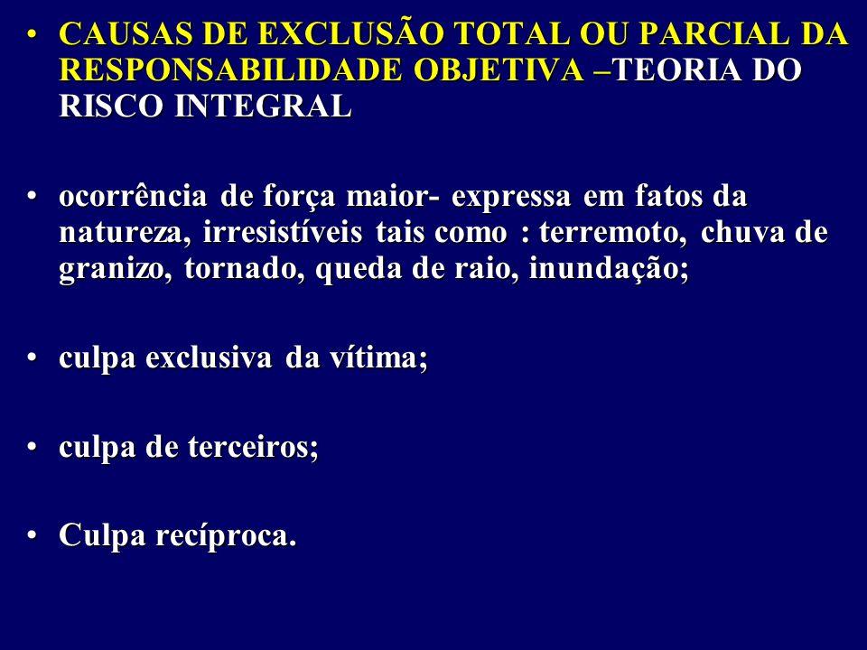 CAUSAS DE EXCLUSÃO TOTAL OU PARCIAL DA RESPONSABILIDADE OBJETIVA –TEORIA DO RISCO INTEGRAL