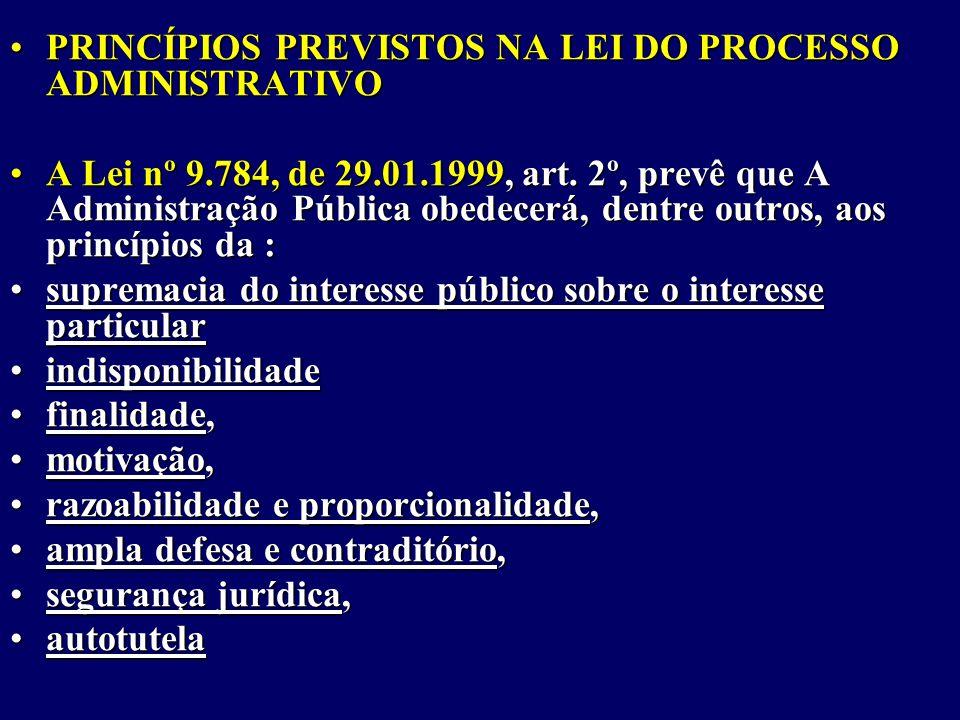 PRINCÍPIOS PREVISTOS NA LEI DO PROCESSO ADMINISTRATIVO