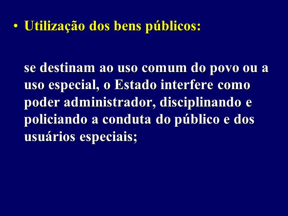 Utilização dos bens públicos: