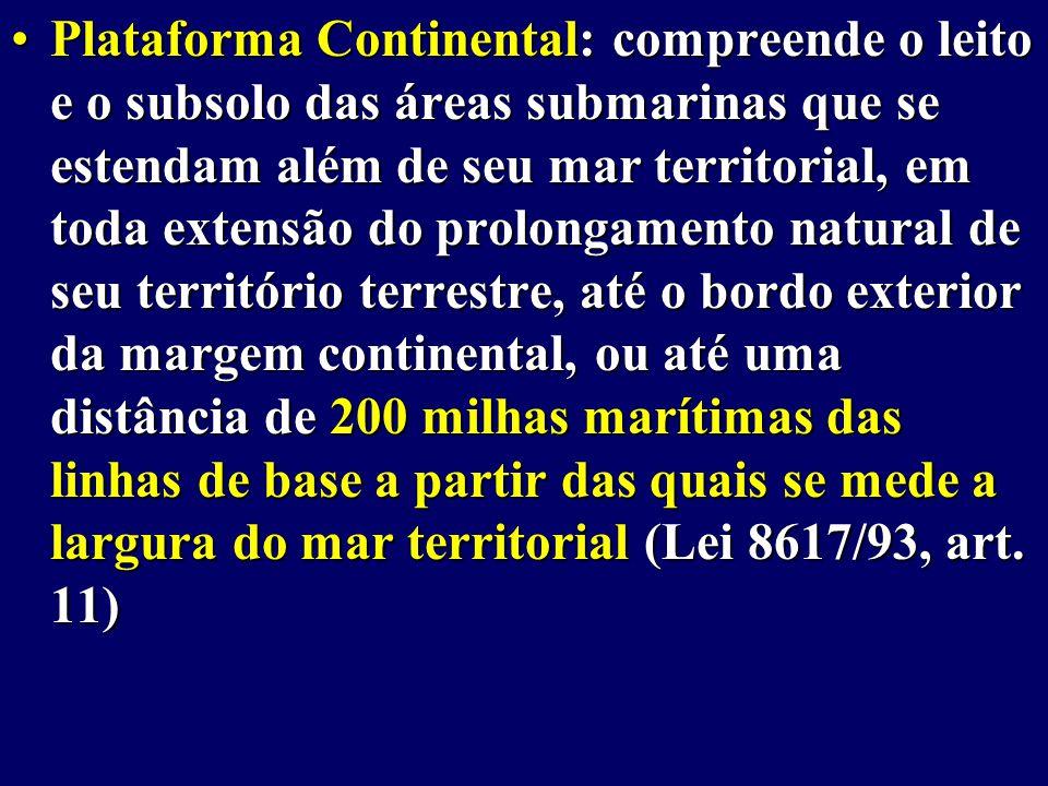 Plataforma Continental: compreende o leito e o subsolo das áreas submarinas que se estendam além de seu mar territorial, em toda extensão do prolongamento natural de seu território terrestre, até o bordo exterior da margem continental, ou até uma distância de 200 milhas marítimas das linhas de base a partir das quais se mede a largura do mar territorial (Lei 8617/93, art.