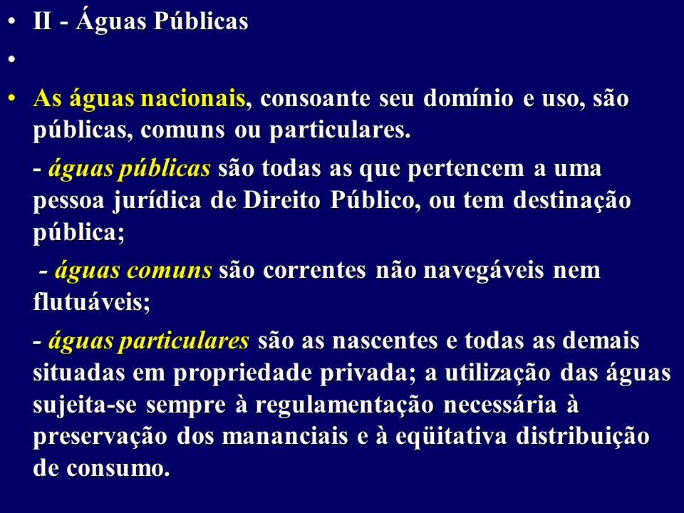 II - Águas Públicas As águas nacionais, consoante seu domínio e uso, são públicas, comuns ou particulares.
