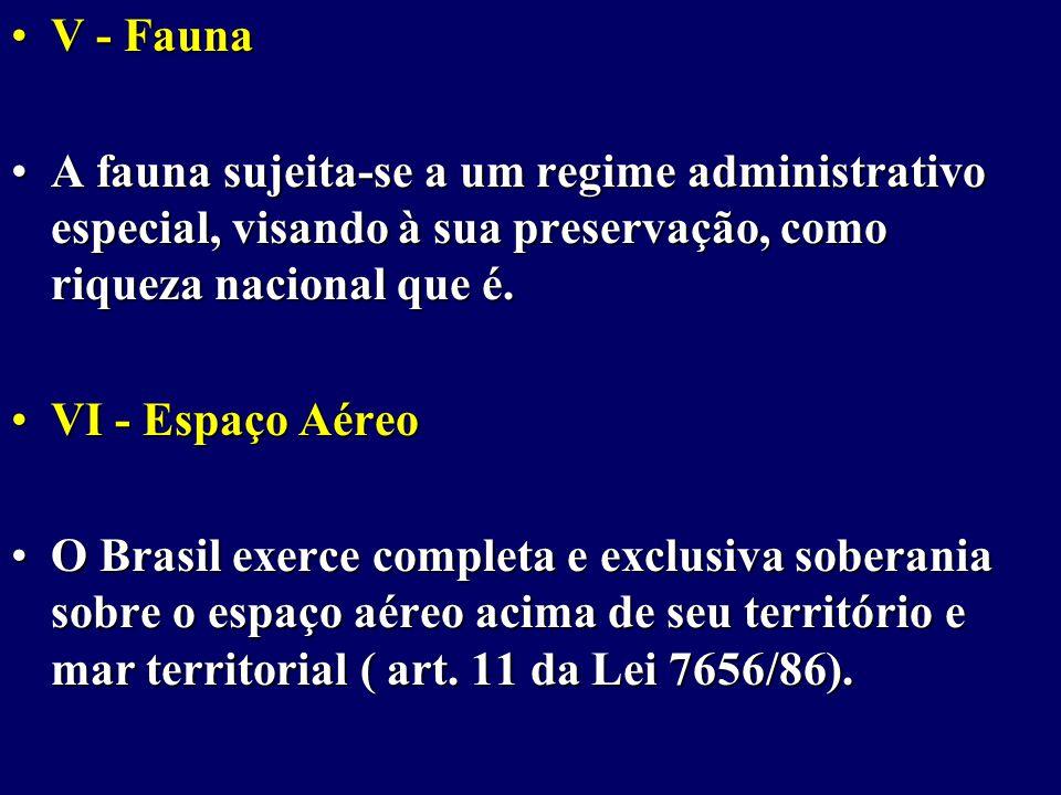 V - Fauna A fauna sujeita-se a um regime administrativo especial, visando à sua preservação, como riqueza nacional que é.