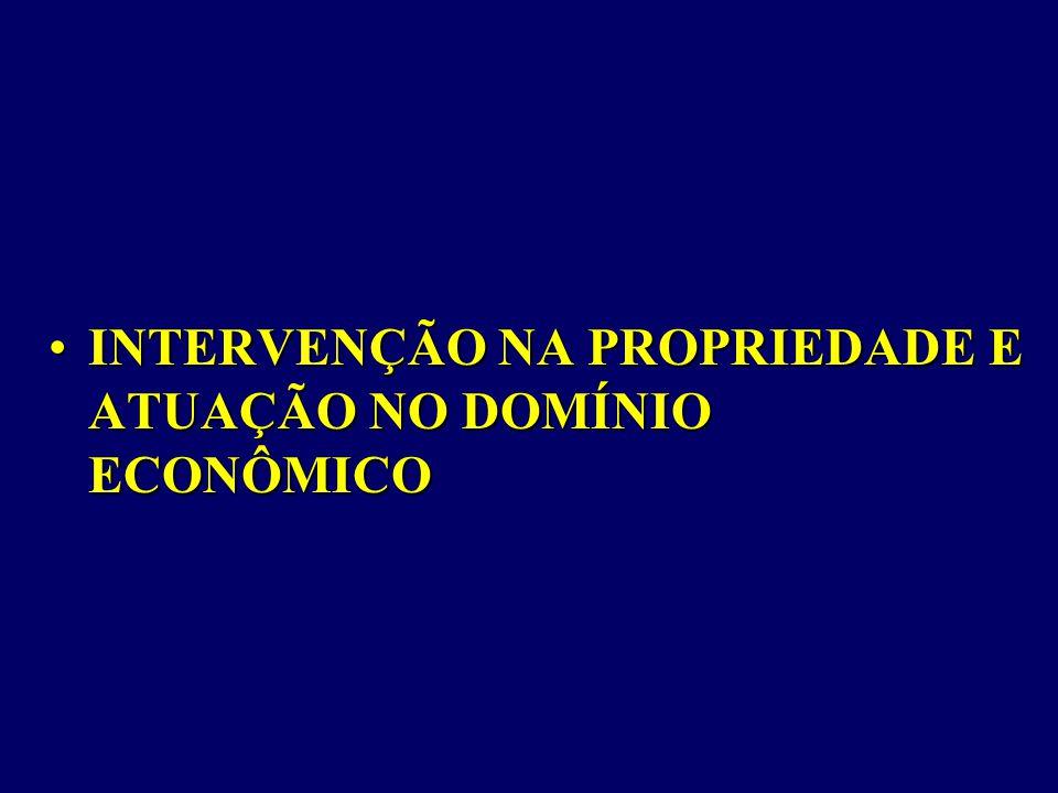 INTERVENÇÃO NA PROPRIEDADE E ATUAÇÃO NO DOMÍNIO ECONÔMICO