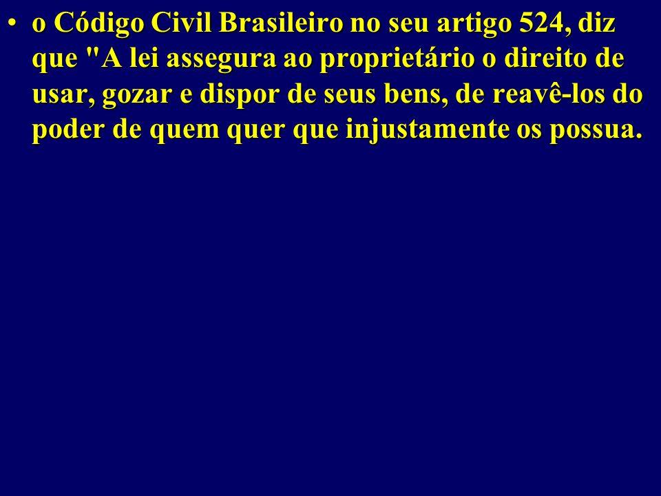 o Código Civil Brasileiro no seu artigo 524, diz que A lei assegura ao proprietário o direito de usar, gozar e dispor de seus bens, de reavê-los do poder de quem quer que injustamente os possua.