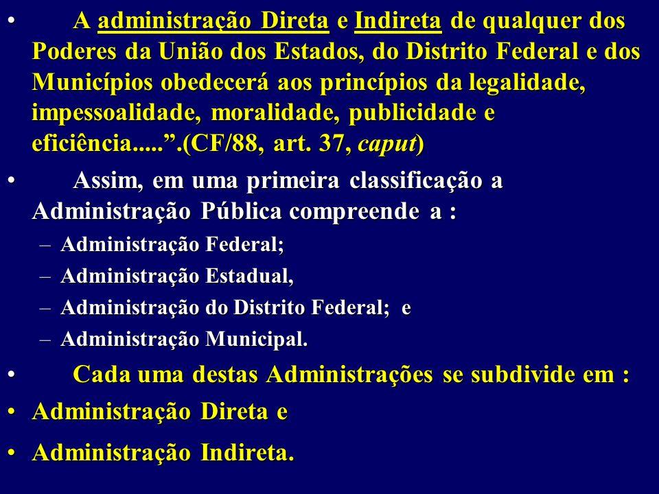 Cada uma destas Administrações se subdivide em :