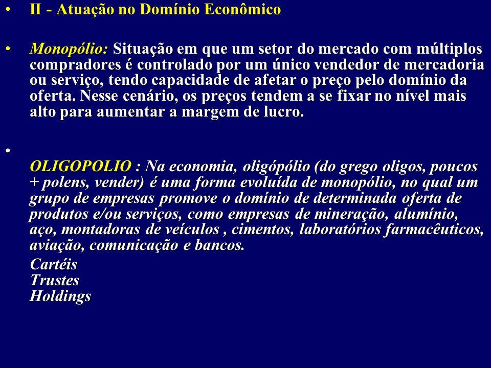 II - Atuação no Domínio Econômico