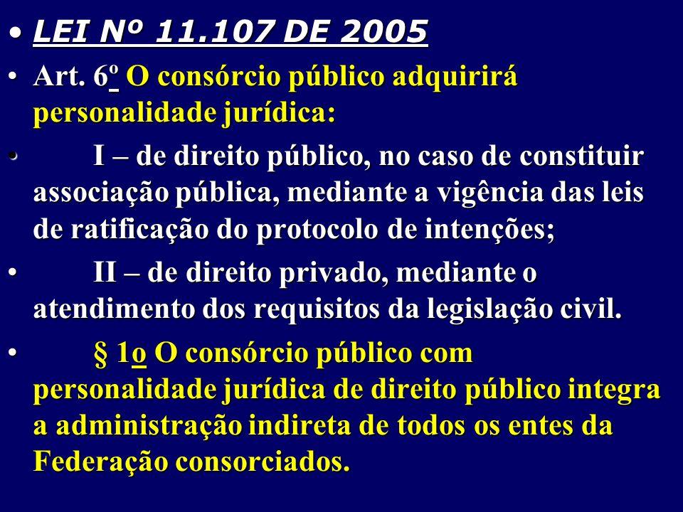 LEI Nº 11.107 DE 2005 Art. 6º O consórcio público adquirirá personalidade jurídica: