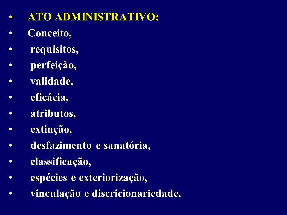 ATO ADMINISTRATIVO: Conceito, requisitos, perfeição, validade, eficácia, atributos, extinção,