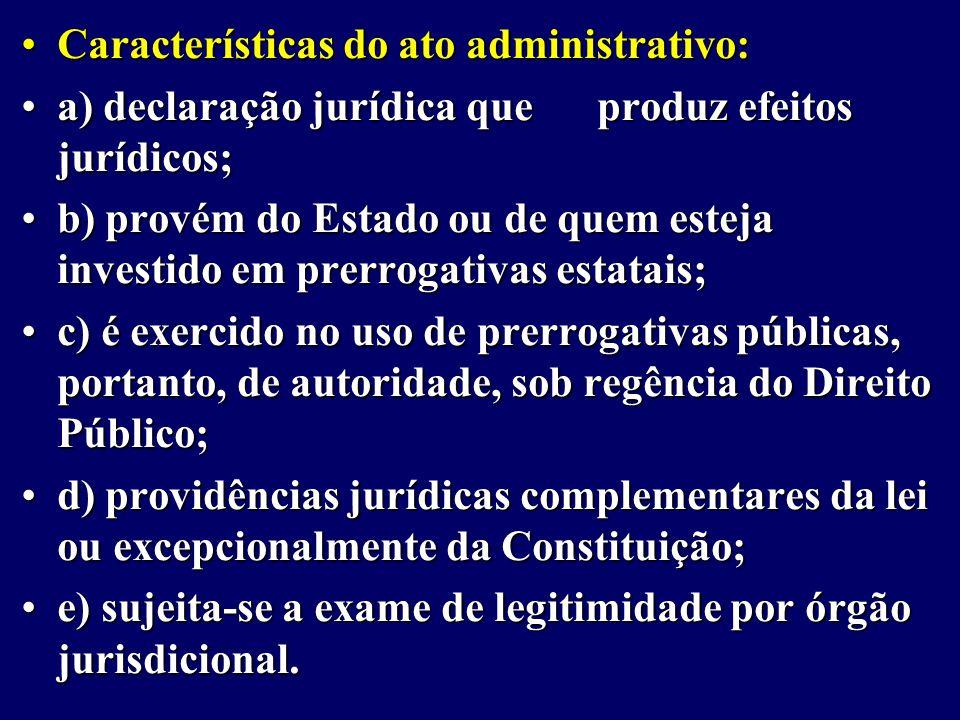 Características do ato administrativo: