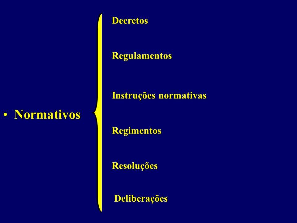 Normativos Decretos Regulamentos Instruções normativas Regimentos
