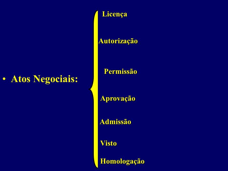 Atos Negociais: Licença Autorização Permissão Aprovação Admissão Visto