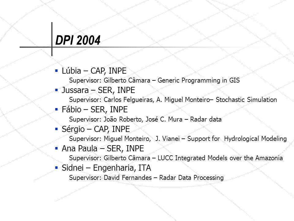 DPI 2004 Lúbia – CAP, INPE Jussara – SER, INPE Fábio – SER, INPE