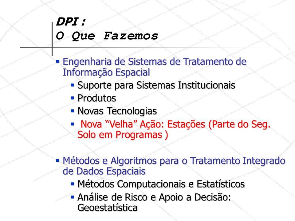 DPI : O Que Fazemos Engenharia de Sistemas de Tratamento de Informação Espacial. Suporte para Sistemas Institucionais.