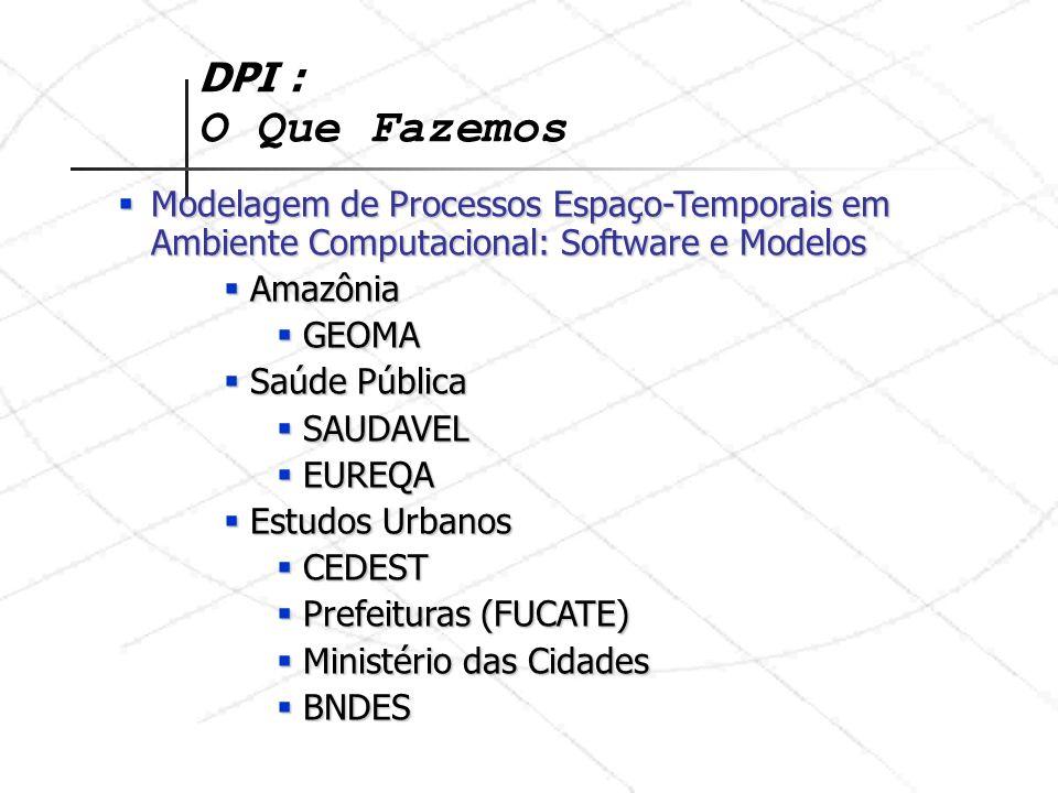 DPI : O Que Fazemos Modelagem de Processos Espaço-Temporais em Ambiente Computacional: Software e Modelos.