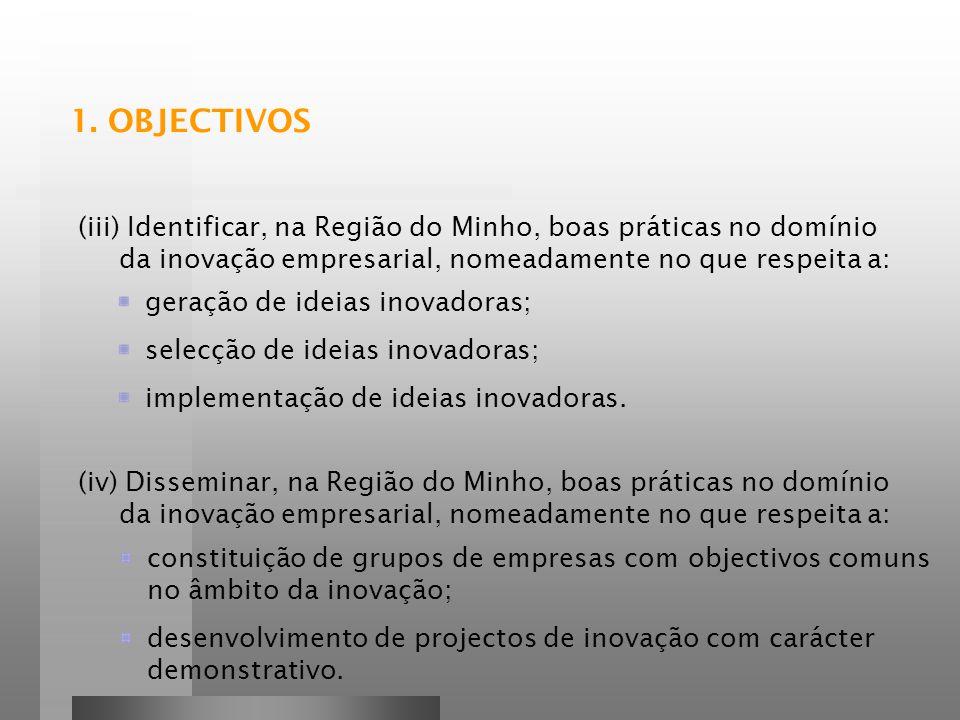 1. OBJECTIVOS (iii) Identificar, na Região do Minho, boas práticas no domínio da inovação empresarial, nomeadamente no que respeita a: