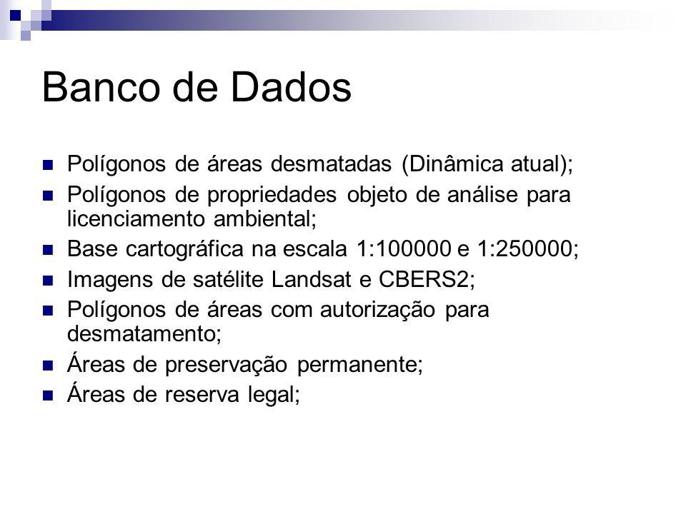 Banco de Dados Polígonos de áreas desmatadas (Dinâmica atual);