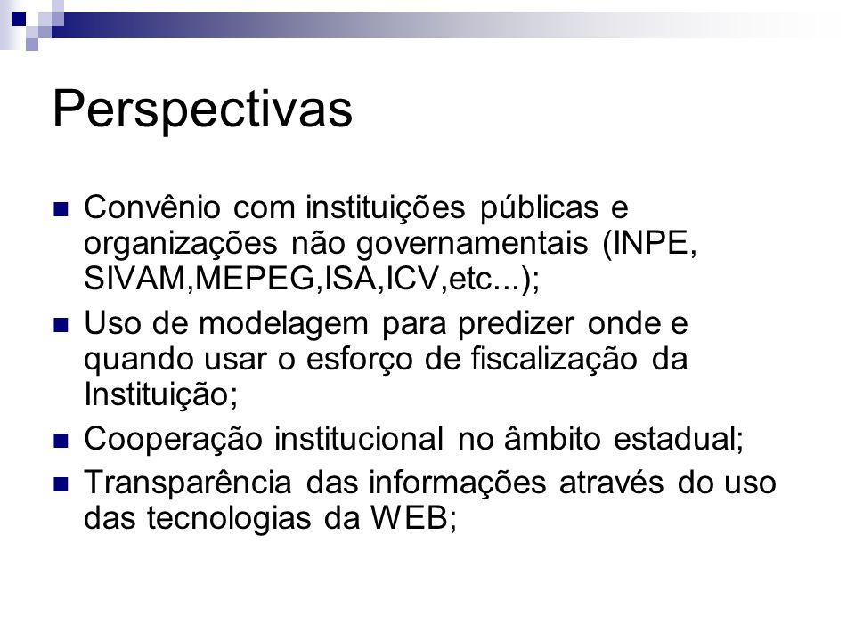 Perspectivas Convênio com instituições públicas e organizações não governamentais (INPE, SIVAM,MEPEG,ISA,ICV,etc...);