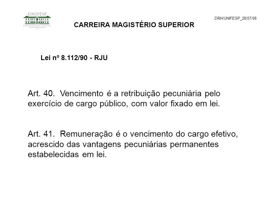 DRH/UNIFESP_28/07/08CARREIRA MAGISTÉRIO SUPERIOR. Lei nº 8.112/90 - RJU.