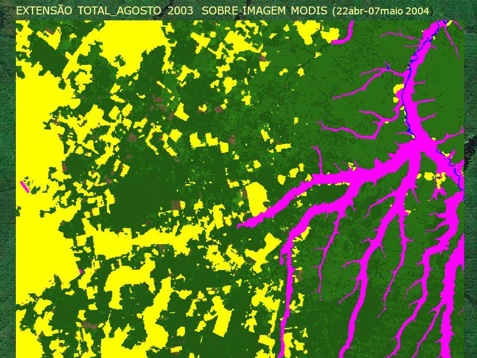 EXTENSÃO TOTAL_AGOSTO 2003 SOBRE IMAGEM MODIS (22abr-07maio 2004)