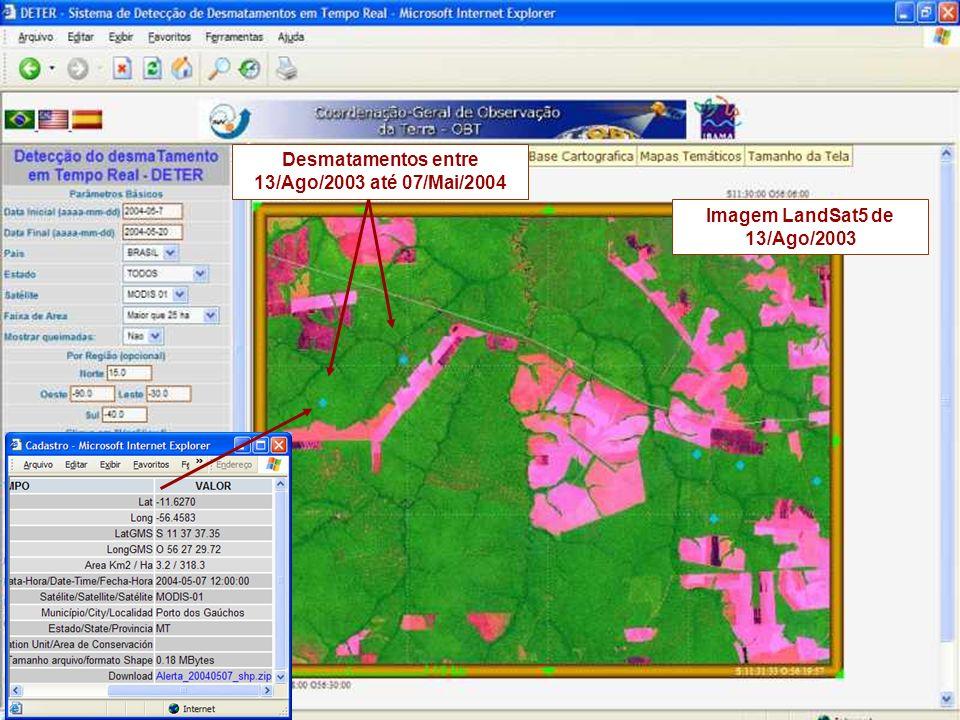 Desmatamentos entre 13/Ago/2003 até 07/Mai/2004
